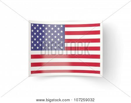 Bent Icon With Flag Of United States Of America