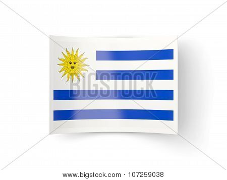 Bent Icon With Flag Of Uruguay