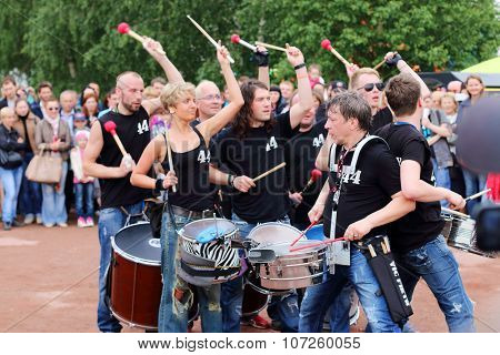 Perm, Russia - Jun 15, 2014: Group Of Drummers 44 Drums Perform At Open Air Festival White Nights
