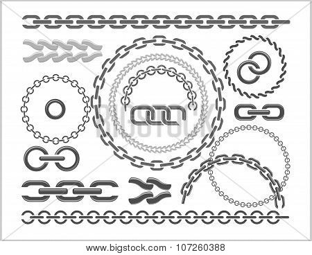 Chains set - icons, parts, circles of chains.