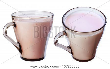 Fruit Yogurt In A Cup Of Dark Glass, Isolate On A White Background In Various Angles.