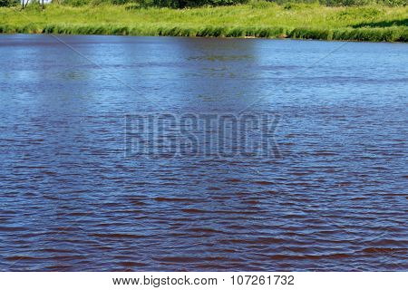 River Coast Line With Green Fresh Grass At Summer Day. Focus On Water