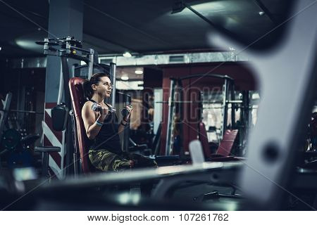 Gorgeous brunette working on her biceps in a gym