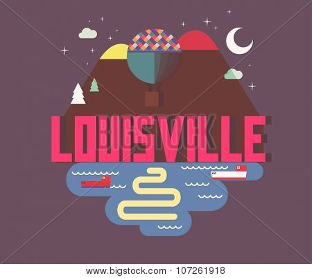 Louisville city logo in colorful vector