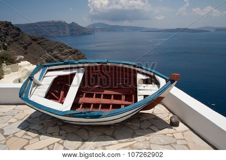 Sea view from the cliff of Santorini island