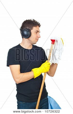 Cleaning Man Dancing With Mop