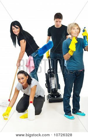 People Teamwork Cleaning House