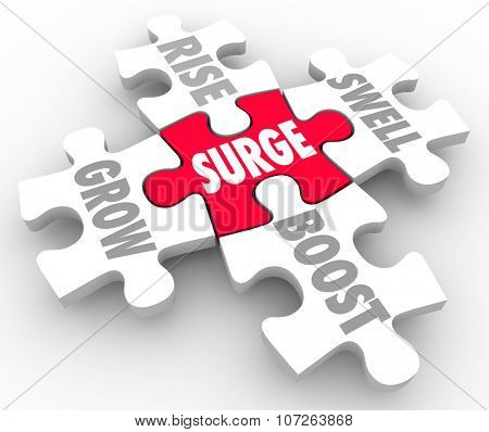 Boost word on red puzzle piece connected to Grow, Rise, Boost and Swell
