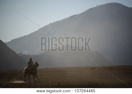 Horse rider on desert near Bromo Mountain Java ,Indonesia.
