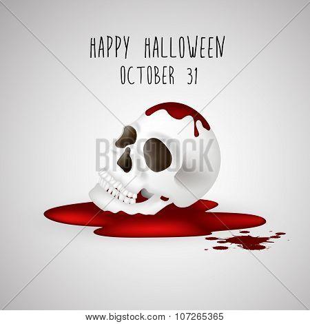 Halloween background Human skull on blood