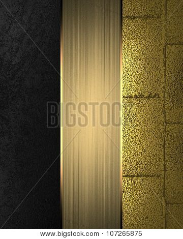 Black And Gold Texture With Gold Nameplate. Element For Design. Template For Design. Copy Space For