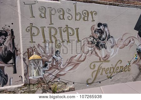 Original Art Wall Design Of Cafe Tapasbar Piripi In Zandvoort, The Netherlands