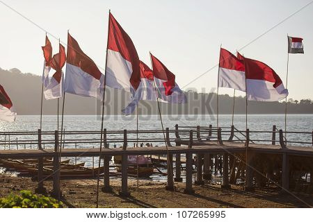 Indonesia flags at the lake side Bali ,Indonesia.