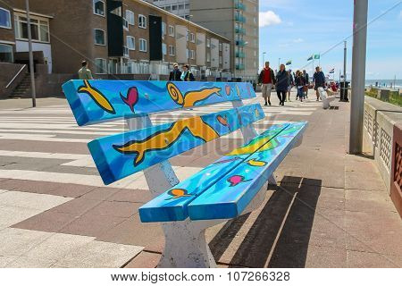 Painted Colourful Bench On The Waterfront Of North Sea In Zandvoort, The Netherlands