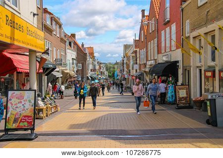 Tourists Walking On The Popular Shop Street Kerkstraat In Zandvoort, The Netherlands.