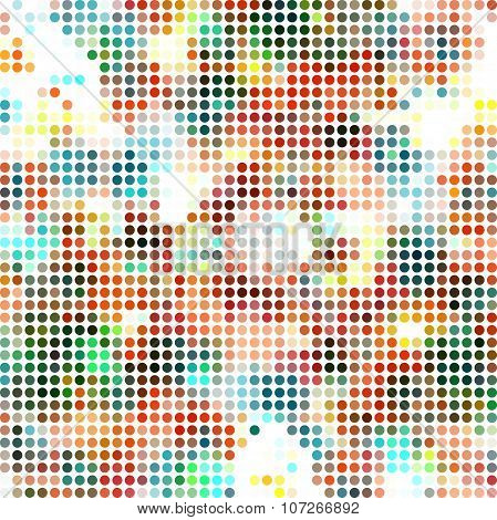 Abstract dotted textile seamless pattern of multicolored spots