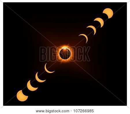 Space background with gold sun light and Crescent moon