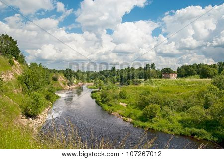 Summer view with a river