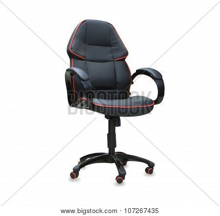 Modern office chair from black leather.