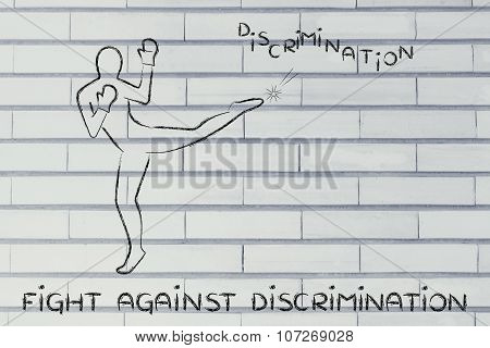 Person Kicking And Boxing The Word Discrimination