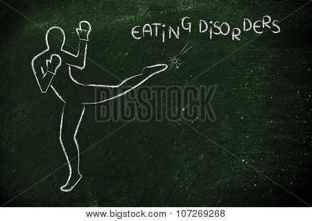 Person Kicking And Boxing The Word Eating Disorders
