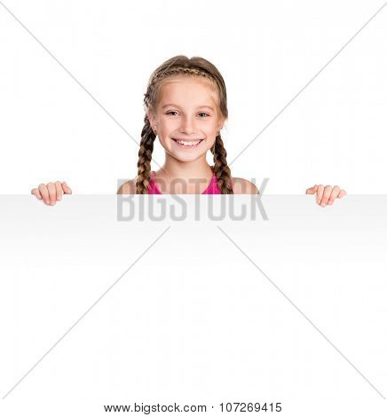 little smiling girl with white blank close up isolated on white background