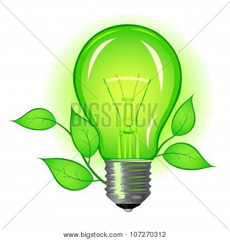 Incandescent Lamp With Green Leaves