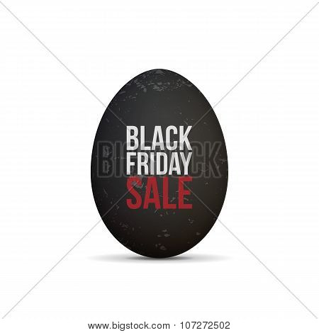 Black Friday Sale Text on realistic Egg