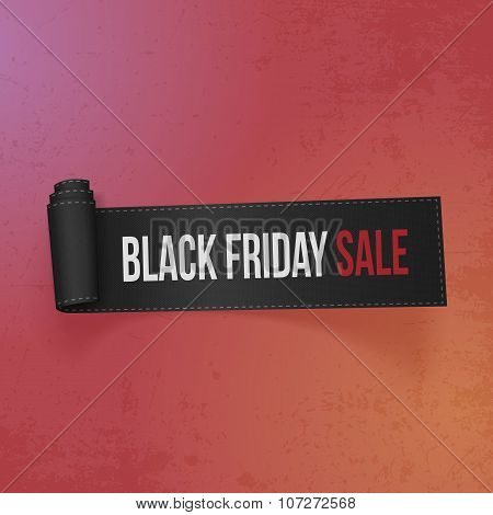 Black Friday Sale Text on realistic Ribbon