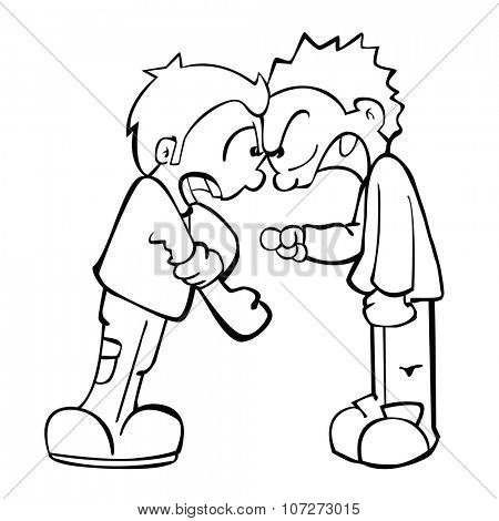 simple black and white two boys fighting  cartoon