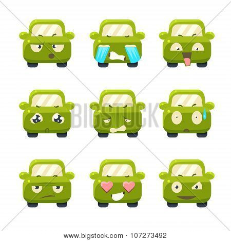 Cute Cars with Emoticons. Vector Set