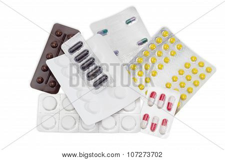 Several Packaging Of Medications On A Light Background