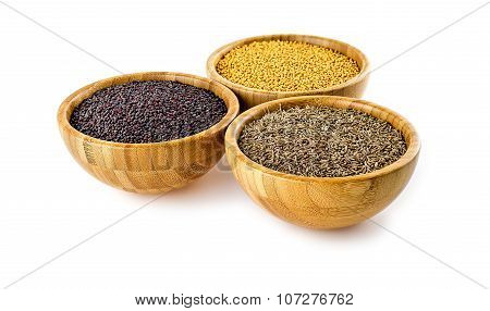Traditional Asian Cooking Spices Isolated In Bamboo Bowls