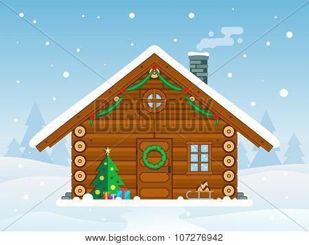 Flat Christmas Cabin Illustration