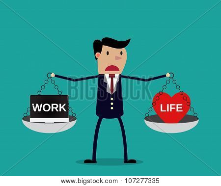 Cartoon businessman balancing Work and life