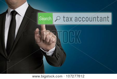 Tax Accountant Browser Is Operated By Businessman Concept
