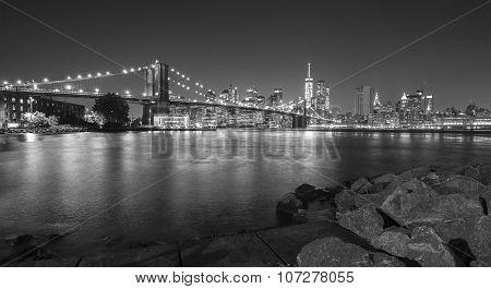 Black And White Photo Of Manhattan Waterfront At Night, Nyc, Usa.
