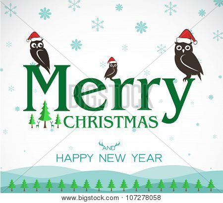 Vector Merry Christmas Greeting Owl Card On White Background, Merry Christmas Lettering