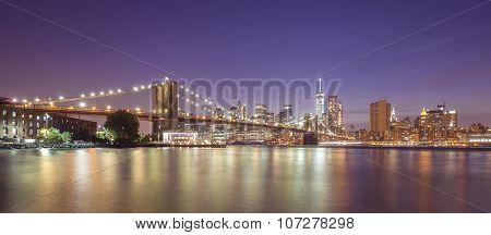 Hudson River And Manhattan Waterfront At Night, Nyc, Usa.