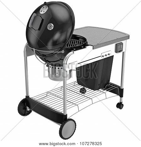 Metal grill on wheels with a hinged lid of the boiler