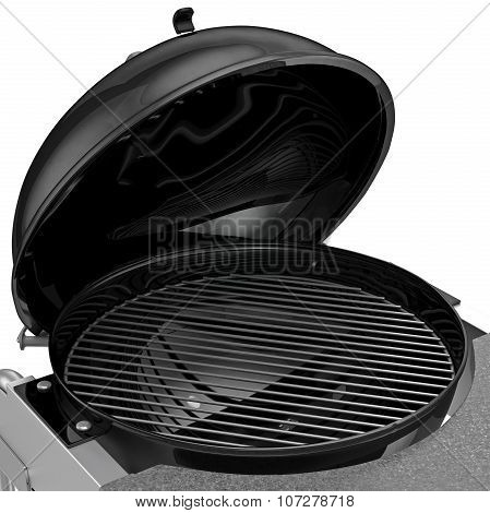 Charcoal Grill with folding metal lid for roasting, zoomed view