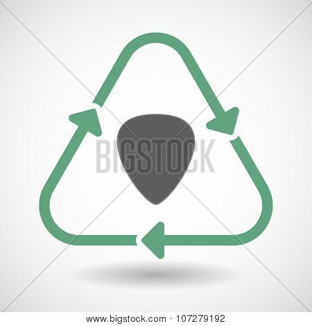 Line Art Recycle Sign Vector Icon With A Plectrum