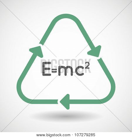 Line Art Recycle Sign Vector Icon With The Theory Of Relativity Formula