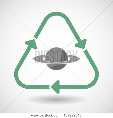 Line Art Recycle Sign Vector Icon With The Planet Saturn