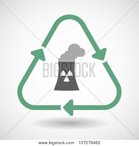 Line Art Recycle Sign Vector Icon With A Nuclear Power Station