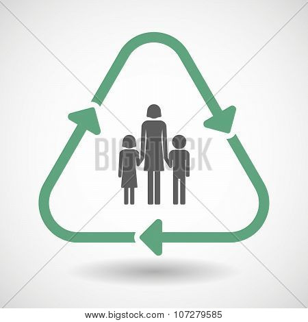 Line Art Recycle Sign Vector Icon With A Female Single Parent Family Pictogram