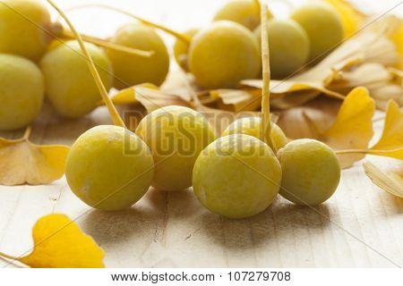 Ripe yellow Ginkgo biloba fruit