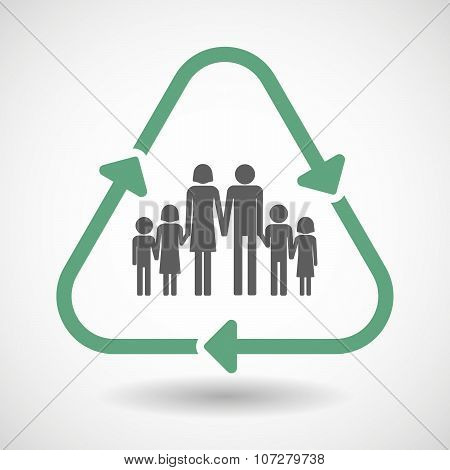 Line Art Recycle Sign Vector Icon With A Large Family  Pictogram