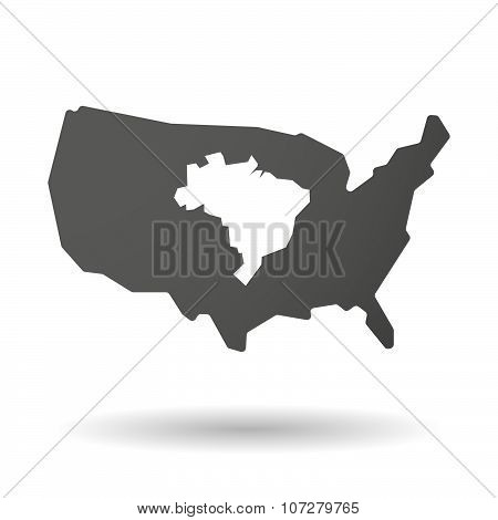Isolated Usa Vector Map Icon With  A Map Fo Brazil