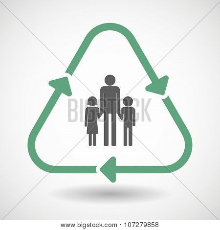 Line Art Recycle Sign Vector Icon With A Male Single Parent Family Pictogram